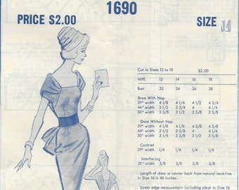 "1950s Vintage Sewing Pattern DRESS B34"" (R507) MODES ROYALE 1690"