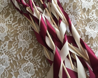 100 wedding wands, ceremony send off, satin ribbons, bells or no bells,