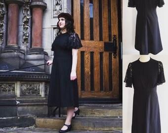 Vintage Classic Black Midi Dress With Lace Sleeves - UK Size 12/US Size 8