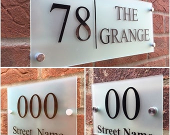 Modern house sign plaque door number street house name frosted glass acrylic XL sizes avaliable