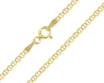 """14K Solid Yellow Gold Custom Mariner Choker Necklace Chain 2.0mm 11-15"""" - Anchor Link"""