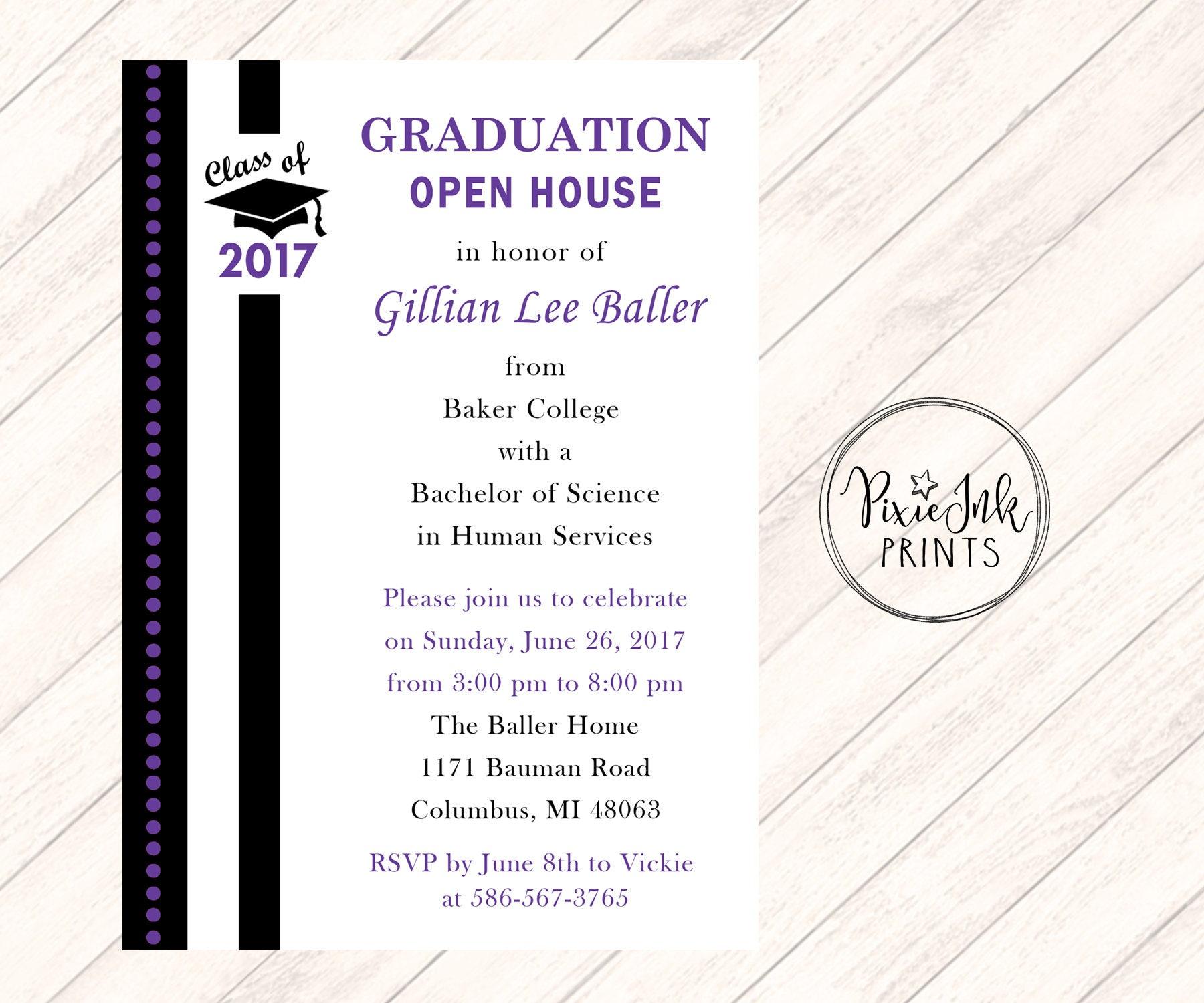 Graduation Party Invitation College Logo Graduation Invitation – Open House Party Invitation