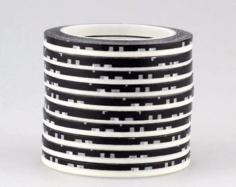 Washi tape 4 mm 10 m black and white vintage style 1 piece (Number 11)
