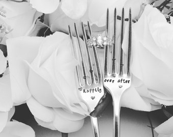 Wedding forks, happily ever after, engagement gift, custom