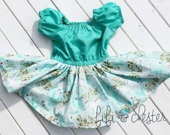 Unicorn Dress, Teal dress, no closures, elastic, baby unicorn dress, toddler unicorn dress