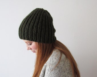 Chunky Knit Slouchy Hat | THE HILL | Featured in the colour Moss Green