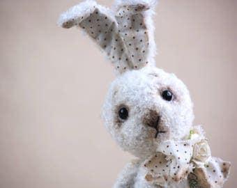 Handmade, Teddy, White Bunny, Artist teddy bear, FREE Shipping, Rabbit, Teddy Rabbit, White Rabbit