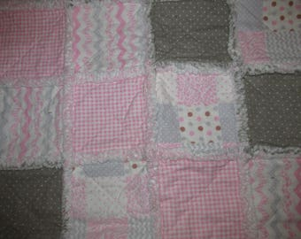 Pink and Brown Baby Girl Rag Quilt