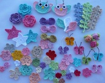 kit crochet elements for scrapbooking,crochet flowers,bunch,doilies and applique