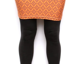 "Latvian ""Laima"" luck invocation- create your reality clothing- orange fitted skirt with Laima symbol XS, S, M, L, XL Latvian Design"