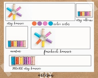 Sewing Etsy Banner, Thread Etsy Banner, Premade Etsy Banner, Etsy Shop Set, DIY Template, Etsy Shop Template, DIY Etsy Banner, Etsy Template