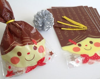 """5 pouches bags gift daughter """"Happy Day"""" 14x21cm with Golden clips"""