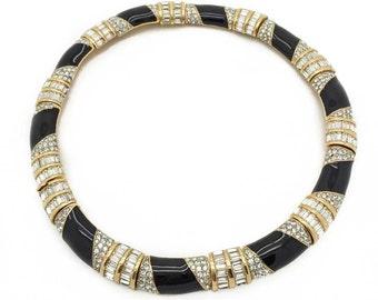 CINER crystal black enamel vintage 80s collar necklace