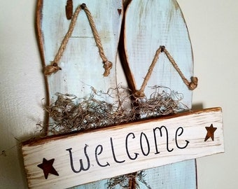 Primitive wooden Flip Flop welcome sign
