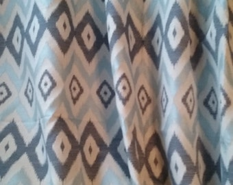 Blue curtains, window curtain, curtain panel, bedroom curtains, blue window curtains, light blue, navy blue, cream, blue decor, chevron