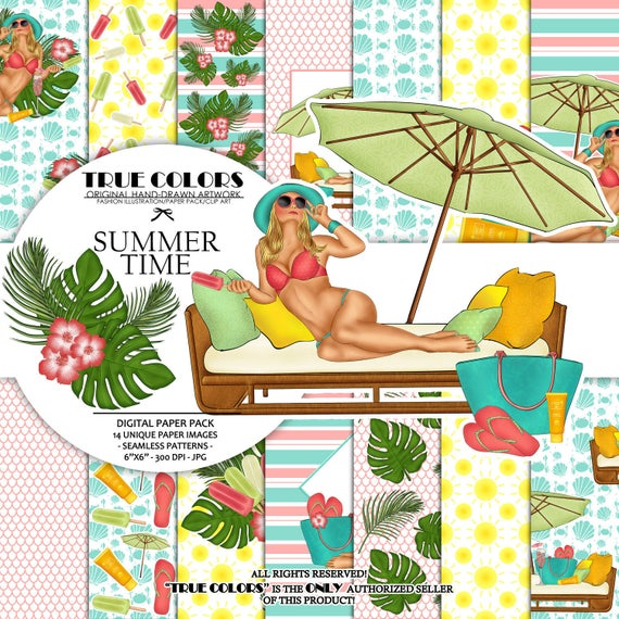 Summer Time Digital Paper Pack Fashion Illustration Planner Sticker Supplies Seamless Blue Yellow Pink Watercolor Background Ocean Tropical