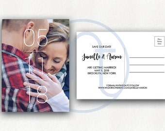 Printable, Custom, Simple Save the Date Postcard, Photo Announcement, Engagement Card