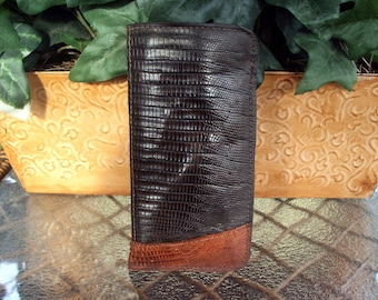 Genuine Lizard Skin Slip Eyeglass Case - Cognac And Brown Lizard Skin Leather