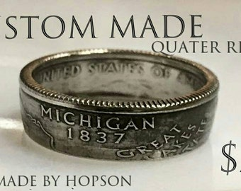 Custom Quarter Ring (made to order, choose your size, style and coin-State/Year)