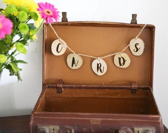 Wedding Cards Garland - Wooden Cards Sign - Rustic Wedding Cards Decoration - Hanging Engraved Cards Bunting