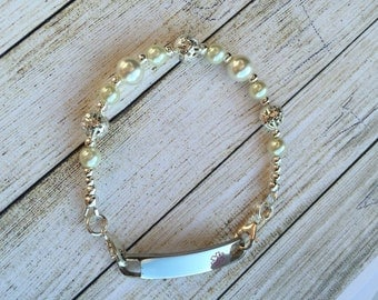 Single strand Interchangeable medical ID bracelet with glass pearls and silver beads