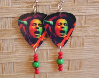 Bob Marley Guitar pick earrings, rasta, one of a kind, guitar pick earrings, guitar pick jewelry