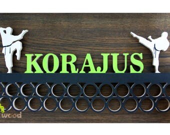 Personalized Wooden Karate Taekwondo Martial Arts Medal Holder Display. 21.6 in Wall decor Karate accessories Bedroom decor
