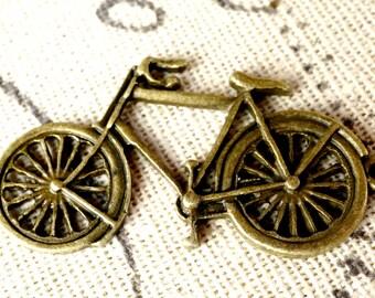 Bicycle charm 2 antique bronze vintage style pendant bike charm jewellery supplies C123