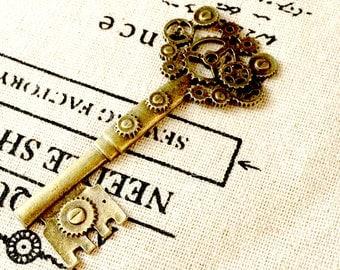 Steampunk key antique bronze vintage style jewellery supplies C144