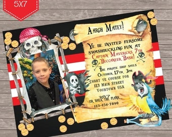Pirate Themed birthday  photo invite  Argh Matey Invitation - printable 5x7 with photo
