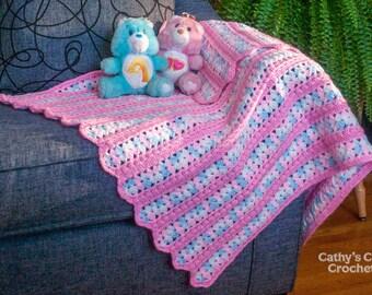 Baby crochet blanket - pink, blue and white - baby girl - nursery decor - crib blanket