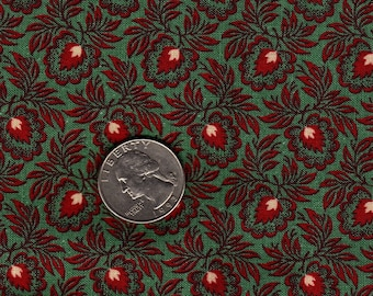 Colonial Classics Red flower on Green Judie Rothermel Out of Print Fat Quarter