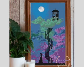 Clara discovers the TARDIS Cross Stitch PDF Pattern | Geek Cross Stitch | Doctor Who Cross Stitch Pattern | Clara's Staircase to the Clouds