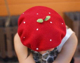 Classical french beret with the cute touch - Srawberry Beret - 100% natural wool soft hat