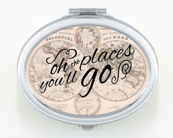 Compact Mirror Vintage Map, Purse Mirror, World Map Mirror Compact, Oh the Places You'll Go