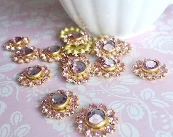 Pink Crystal Flower | Brass Swarovski Crystal Jewelry Findings | Swarovski Flower | Brass Jewelry Supplies | Pink and Purple | 2 Pieces
