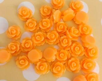 Bright Orange Rose Cab | Resin Rose Cabochon | Flower Cabochon | Resin Flower | Resin Rosebuds | 9MM Resin Rose | Flatback Rose | 24 Pieces