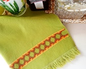 1970's Boho Home, Aztec Inspired Hand Towel with an Ombre Sunset Needlepoint Design