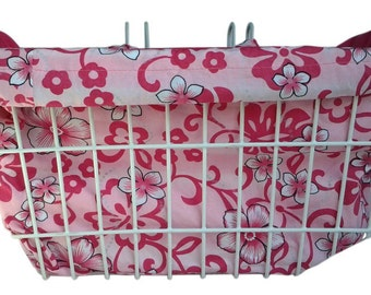 Cool Bike Basket Liner Pink Hibiscus