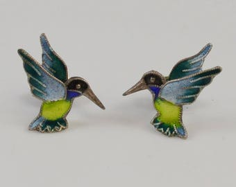 Sterling Silver 925 Enameled Hummingbird Earrings(01073)
