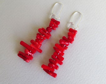 Coral drop earrings | Coral chip earrings | Coral earrings | Bamboo coral earrings | Coral dangle earrings