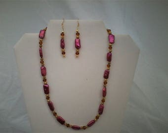 Pink shell 'n' smoked topaz crystal necklace