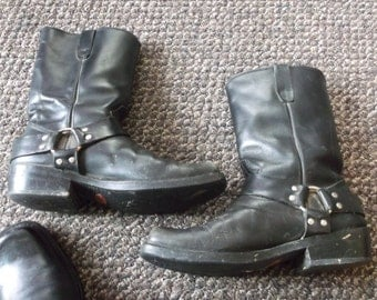 Men's Vintage WELL WORN Harness Boots Engineer Boots Motorcycle Boots Biker Boots TRASHED