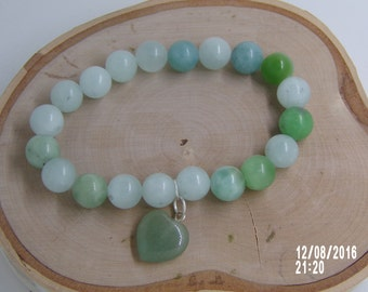 B1230 Sea Green Glass Beaded Bracelet
