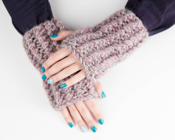 Fingerless Gloves, Driving Gloves, Knitted Winter Gloves, Gray and Purple Texting Gloves, Boho Chic Gloves, Christmas Gift for Her
