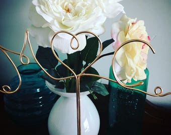 Custom Initials Wire Cake Topper for Weddings , Engagements and Special Occasions - Gold or Silver