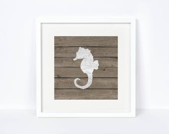 Bedroom Nautical Wall Decor - Unique Gift for Baby Boys - Digital Print - Seahorse Print - Reclaimed Wood Nautical Print - Nursery Decor