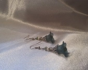 Green and silver flower earrings