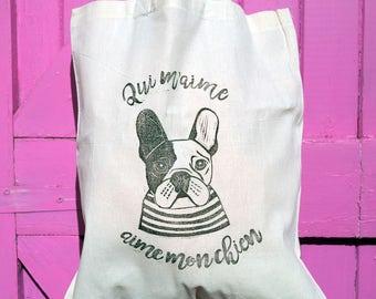 French Bulldog Tote Bag Hand Printed Lino Print Frenchie Gift Dog Gift /// Frenchie 'Love Me, Love My Dog'