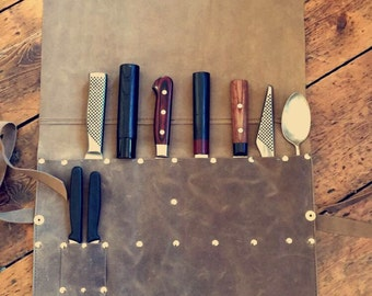 Premium Leather Knife Roll Made in the UK